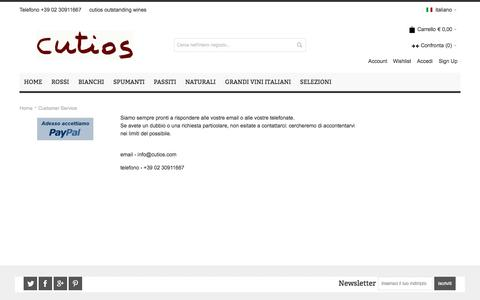 Screenshot of Support Page cutios.com - Customer Service - captured Sept. 30, 2014