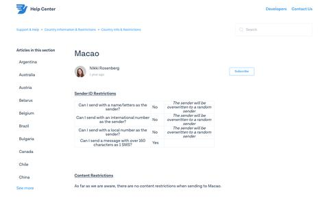 Macao – Support & Help
