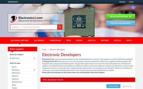 Screenshot of Developers Page electronics1.com - Electronic Developers - Electronics1.com - captured Jan. 9, 2017