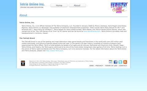 Screenshot of About Page tetrisonline.com - About - Tetris Online, Inc. - captured June 16, 2015