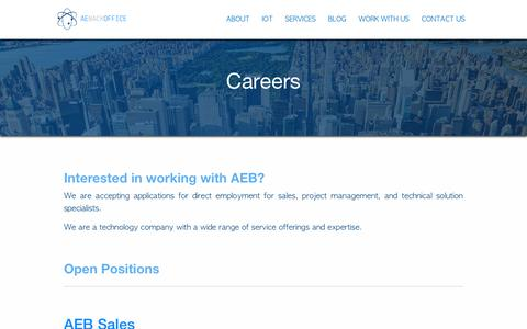 Screenshot of Jobs Page aebackoffice.com - Careers - AEBACKOFFICE - captured Oct. 2, 2018