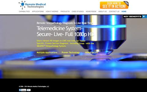 Screenshot of Home Page rmtcentral.com - Remote Medical Technologies | Secure, Live, Full 1080p HD Telemedicine Systems - captured Oct. 7, 2014