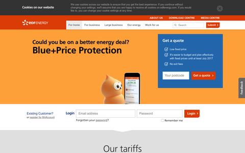 Screenshot of Home Page edfenergy.com - EDF Energy - Suppliers of Electricity & Gas for Home & Business - captured July 3, 2016