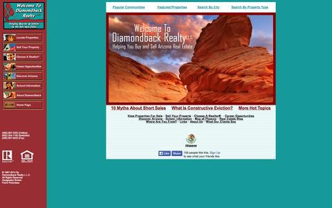 Screenshot of Home Page diamondbackrealty.com - Phoenix Real Estate - 44 Cities! - Phoenix Real Estate - 44 Cities! - Phoenix Real Estate - captured Oct. 6, 2014