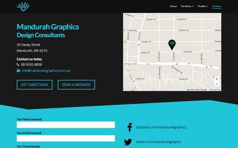 Screenshot of Contact Page mandurahgraphics.com.au - Contact the Professional Design Team at Mandurah Graphics - captured Dec. 21, 2015
