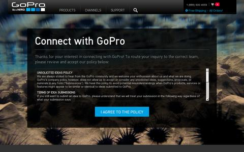 Screenshot of Contact Page gopro.com - GoPro Official Website: The World's Most Versatile Camera - captured July 20, 2014