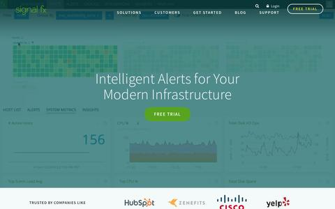 Screenshot of Home Page signalfx.com - Monitoring & Alerts for Modern Infrastructure   SignalFx - captured June 25, 2016