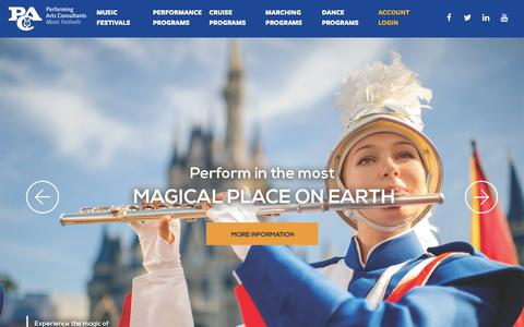 Screenshot of Home Page usafest.org - Performing Arts Consultants | Music Festivals & School Music Tours - captured Sept. 27, 2018
