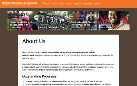 Screenshot of About Page nh-milw.org - About Us | Neighborhood House of Milwaukee - captured Oct. 26, 2014