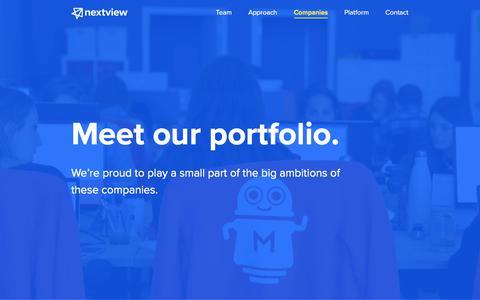Screenshot of nextviewventures.com - Companies - NextView Ventures - captured Aug. 2, 2017