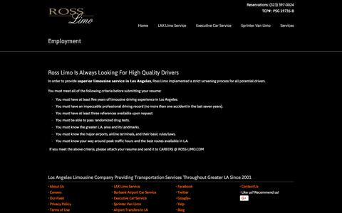 Screenshot of Jobs Page ross-limo.com - Employment - captured Sept. 21, 2018