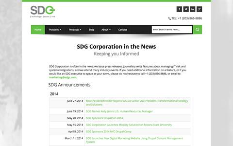 Screenshot of Press Page sdgc.com - SDG News   News about Risk Mitigation in the Enterprise - captured Sept. 23, 2014