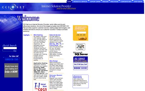 Screenshot of Home Page ccinet.com - CCINet: Domain Registration, Hosting, Dedicated Servers, Colocation and  Dedicated Access. - captured Jan. 28, 2015