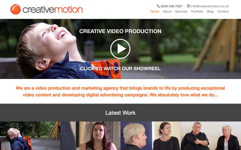 Screenshot of Home Page creativemotion.co.uk - Creative Motion   Business and Corporate Video Production Company   Kent   London   UK - captured Sept. 30, 2018