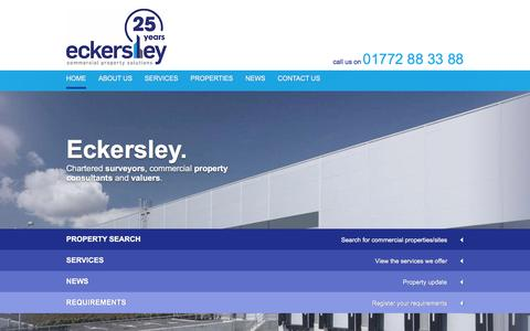 Screenshot of Home Page eckersleyproperty.co.uk - Eckersley are chartered surveyors, commercial property consultants - captured Jan. 25, 2016