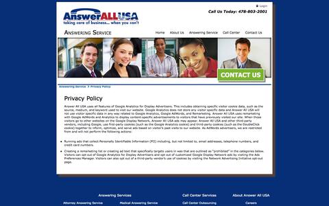Screenshot of Privacy Page answerallusa.com - Privacy Policy - captured Oct. 4, 2014