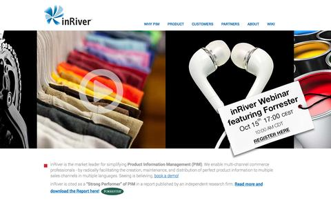 Screenshot of Home Page inriver.com - PIM for multi-channel and e-commerce - inRiver - captured Sept. 13, 2014