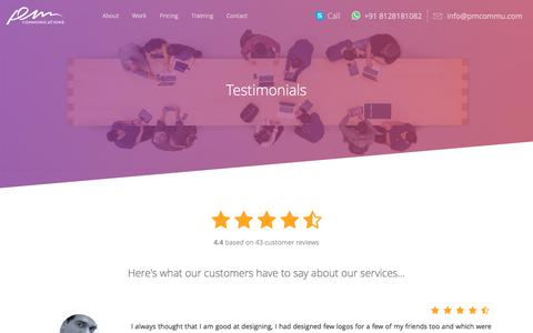 Screenshot of Testimonials Page pmcommu.com - Client Testimonials | PM Communications | Best Website, Graphic, Mobile Designing and development Company Ahmedabad, India - captured Sept. 25, 2018