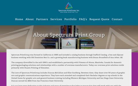 Screenshot of About Page spectrumprintgroup.com - About Spectrum Print Group  - Spectrum PrintGroup, Inc. - captured Nov. 19, 2018