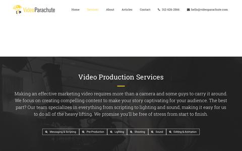 Screenshot of Services Page videoparachute.com - Video Production Services | Video Parachute - captured Sept. 21, 2018