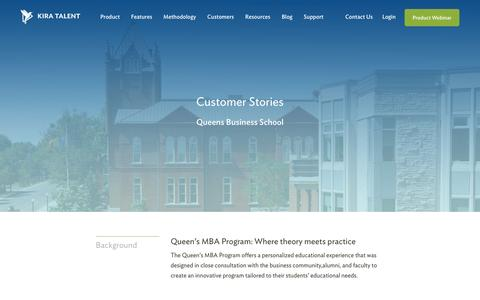 Screenshot of Case Studies Page kiratalent.com - Queen's School of Business - Customer Story | Kira Talent - Video Admissions Platform - captured Oct. 21, 2016