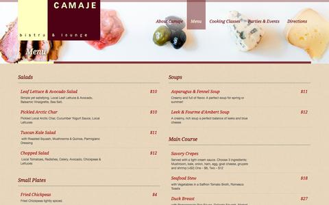 Screenshot of Menu Page camaje.com - Menu | CamajeCamaje - captured Sept. 22, 2014
