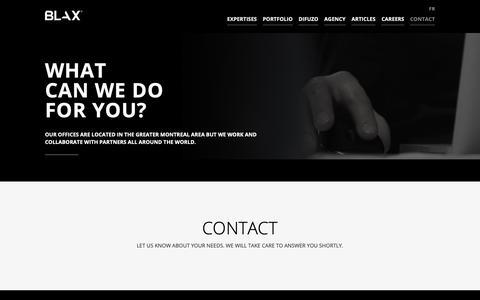 Screenshot of Contact Page blax.ca - Contact us   Blax Web & Design - captured Oct. 6, 2018