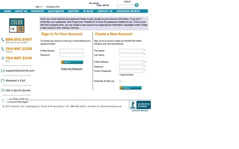 Screenshot of Login Page colorid.com - ColorID - Customer Sign In - captured Sept. 30, 2014