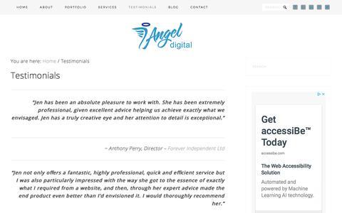 Screenshot of Testimonials Page angeldigital.marketing - Testimonials and reviews - Angel Digital Marketing - captured July 20, 2019