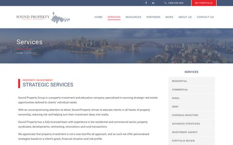 Screenshot of Services Page soundproperty.com.au - Property Investment Advice & Buyer's Agents - Sound Property - captured Oct. 18, 2018