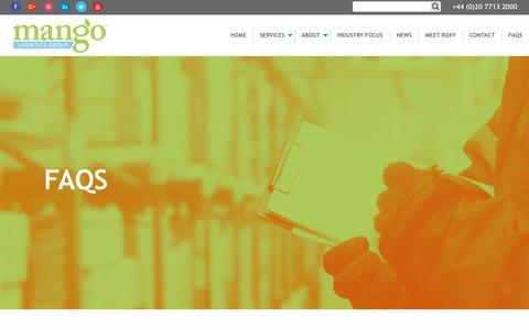 Screenshot of FAQ Page mangologisticsgroup.co.uk - FAQs | Mango Logistics Group - captured July 27, 2018
