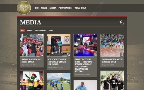 Screenshot of Press Page usainbolt.com - Usain Bolt | Media - captured Oct. 26, 2014