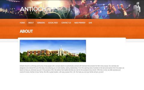 Screenshot of About Page antiochchurch.com - About     antioch church   - captured Sept. 30, 2014