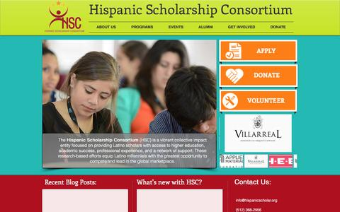 Screenshot of FAQ Page hispanicscholar.org - Hispanic Scholarship Consortium - captured Oct. 2, 2014