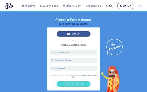 Screenshot of Signup Page jibjab.com - Funny eCards - Send Custom Greeting Cards Online w/ JibJab! - Create Account - captured May 2, 2019