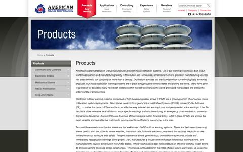 Screenshot of Products Page americansignal.com - » Products » American Signal Corporation - captured Oct. 1, 2014