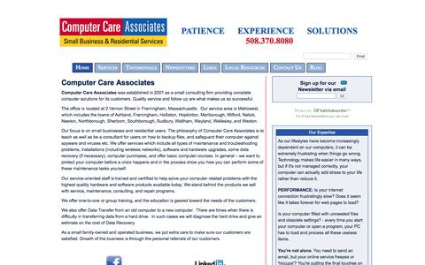 Screenshot of Home Page help4computers.com - Computer Care Associates - captured Aug. 12, 2017