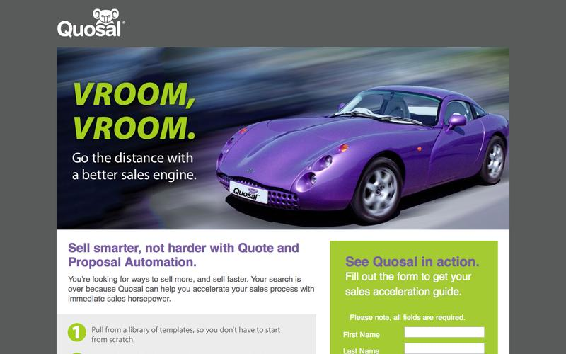 Vroom, Vroom! Go the distance with a better sales engine.