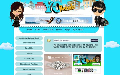 Screenshot of FAQ Page yorehab.com - » YoRehab Price Guide FAQ's YoWorld Price Guide and YoWorld Fan Site - captured Sept. 3, 2016