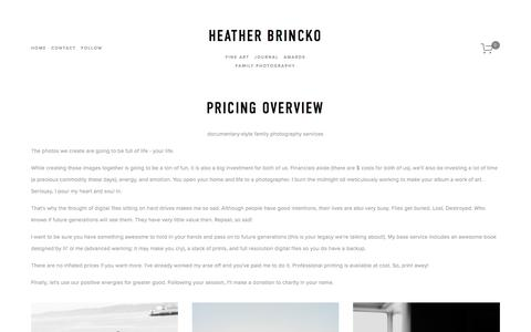 Screenshot of Pricing Page heatherbrincko.com - Pricing - Family Photography Sessions — Heather Brincko - captured Jan. 13, 2018