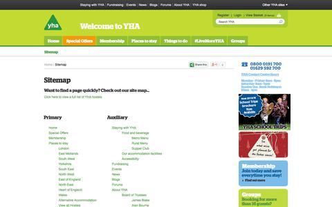 Screenshot of Site Map Page yha.org.uk - Sitemap | YHA - captured Sept. 25, 2014