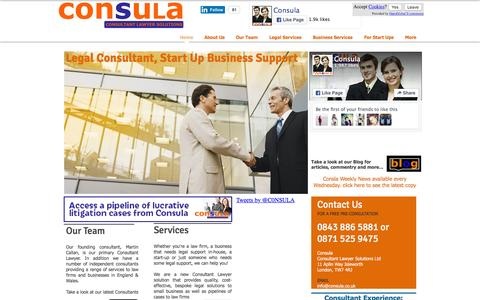 Screenshot of Home Page consula.co.uk - Consula | Legal Consultant, Start Up Support - captured Jan. 30, 2016