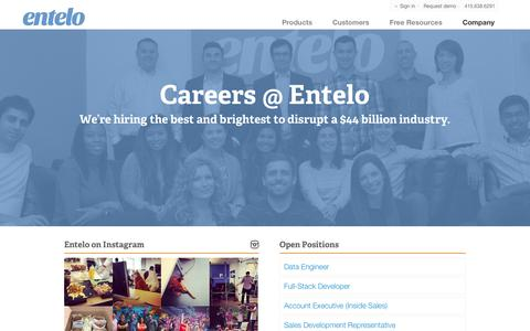 Screenshot of Jobs Page entelo.com - Entelo Careers - captured Sept. 16, 2014