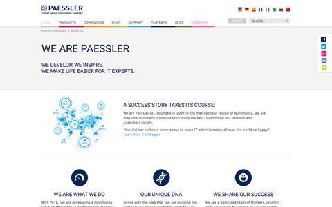 Screenshot of About Page paessler.com - Paessler AG - About Us - captured Jan. 16, 2017