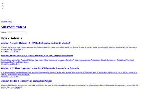 Popular Webinars - MuleSoft Videos