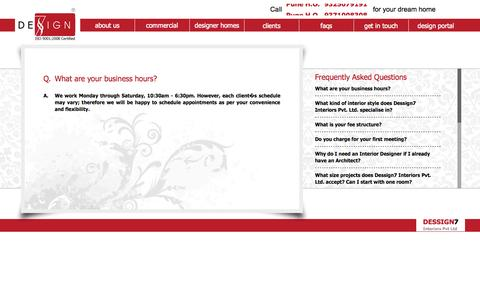Screenshot of FAQ Page d7india.com - Interior Design Services in Pune Mumbai | Interior Designers in Pune Mumbai | Top interior designers - captured Oct. 5, 2014