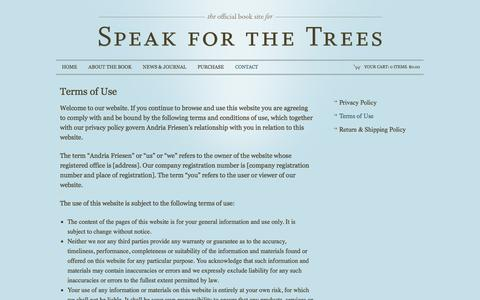 Screenshot of Terms Page speakforthetreesbook.com - Contact |  Speak For The Trees book - captured May 22, 2016