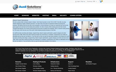 Screenshot of About Page auxilsolutions.com - Cheap Domain Name Registration, Tamilnadu, India - captured July 27, 2016