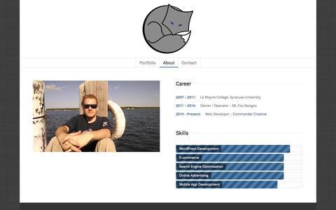 Screenshot of About Page mackenziefox.com - Wordpress Development, E-commerce, Online Advertising - captured Oct. 3, 2014