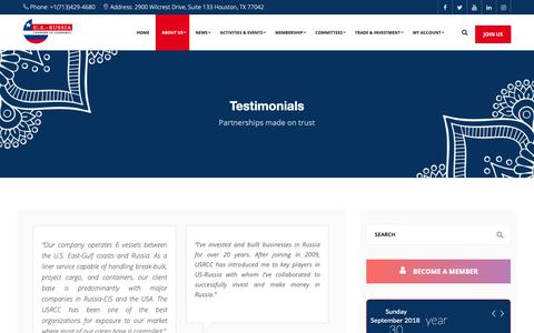 Screenshot of Testimonials Page usrussiacc.org - Testimonials - USRCC - captured Oct. 1, 2018
